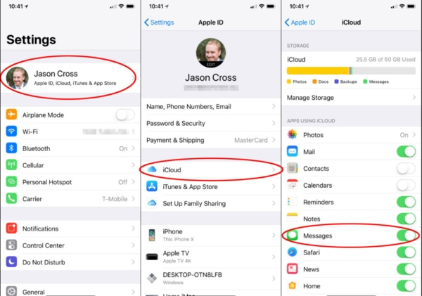 Setting up icloud for imessage app