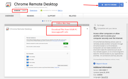 Using iMessage on windows with Chrome remote desktop extention